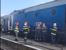 Incendiu la locomotiva unui tren aflat in gara Targoviste Sud. Pompierii au localizat si stins focul VIDEO