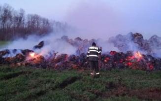 Incendiul din comuna Axintele nu a fost stins. Actioneaza pompieri din 2 judete