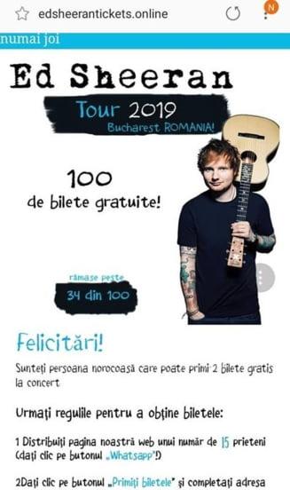 Inselatorie pe WhatsApp cu bilete la concertul lui Ed Sheeran
