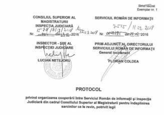 Inspectia Judiciara a publicat protocolul cu SRI: Nu a fost exercitata nicio actiune disciplinara ca efect al acestuia