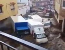 Inundatiile au facut prapad in Spania: Masini luate de apa cu tot cu oameni in ele, drumuri inchise (Video)
