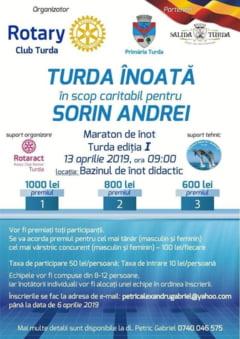 Invitatie la maratonul de inot din 13 aprilie la bazinul de inot Turda. Toate fondurile stranse in urma participarii vor fi redirectionate catre Sorin, un baietel turdean care are nevoie urgenta de tratament