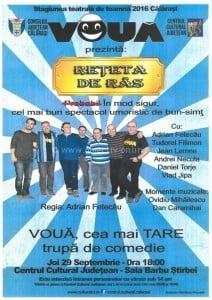 """Invitatie la teatru/Spectacolul de teatru """"REEsETA DE RAS"""" se joaca astazi la Calarasi"""