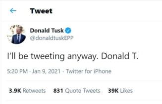 """Ironia lui Donald Tusk la adresa tizului Donald din Statele Unite: """"Voi continua sa postez orice-ar fi"""""""