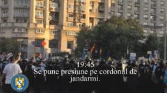 Jandarmeria posteaza doua filmulete pe Facebook cu propria versiune asupra reprimarii protestelor: Forte de ordine agresate repetat, care au reactionat ca in UE si SUA (Video)