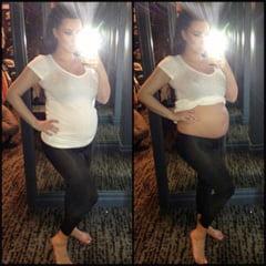 Kim Kardashian s-a dezbracat, pentru a demonstra ca sarcina sa nu e un fals