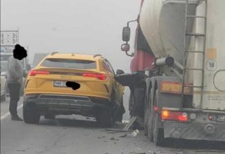 Lamborghini de peste 200.000 de euro avariat intr-un accident la Jucu. Au fost implicate 4 masini FOTO