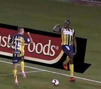 Legendarul Bolt, la primele goluri din cariera de fotbalist