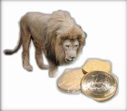 Leul, in genunchi in fata euro