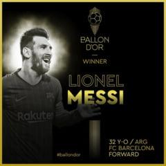 Lionel Messi a castigat Balonul de Aur 2019