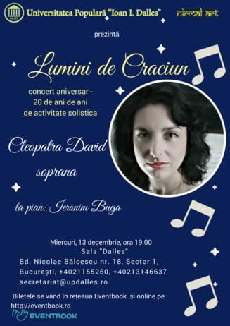Luminile de Craciun se aprind la Sala Dalles pe 13 decembrie: Concert aniversar al sopranei Cleopatra David - 20 de ani de activitate solistica