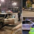 Mașină de poliție spulberată în centrul Capitalei de un BMW. Tânărul abia își luase permisul de conducere