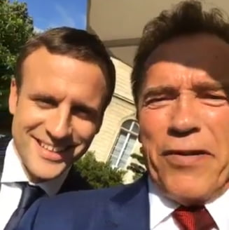 Macron si Schwarzenegger il contreaza pe Trump la unison: Sa facem planeta mareata din nou!