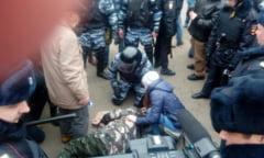 """Manifestatia de la Moscova, cu mesajul """"Putin este un hot"""", s-a lasat cu zeci de arestari"""