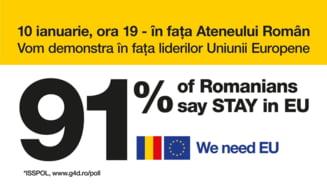 Manifestatie la Ateneul Roman in ziua preluarii presedintiei UE: Vrem Europa, nu dictatura!
