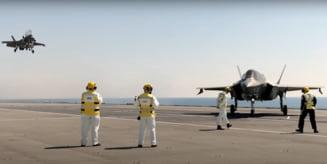 Marea Britanie isi etaleaza noile F-35. Video spectaculos cu aterizari si decolari de pe noul portavion, HMS Queen Elizabeth