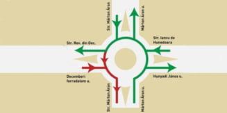 Miercurea Ciuc: Restrictii de circulatie la sensul giratoriu de la intersectia strazilor Marton Aron, Iancu de Hunedoara si Revolutiei din Decembrie