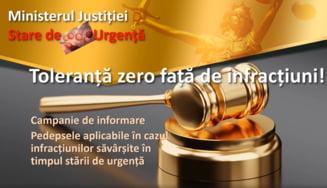 """Ministerul Justitiei demarareaza campania """"Toleranta zero fata de infractiuni!"""". Care sunt pedepsele pentru faptele savarsite in starea de urgenta"""