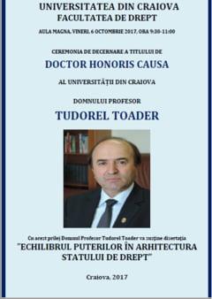 Ministrul Justitiei, Doctor Honoris Causa al Universitatii din Craiova. Tudorel Toader va fi prezent, vineri, la ceremonia de la Facultatea de Drept