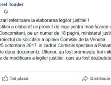 Ministrul Justitiei face precizari pe Facebook: cine e de vina pentru criticile venite de la Comisia de la Venetia
