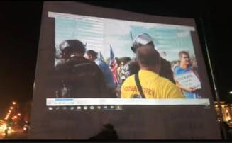 Miting in Piata Victoriei VIDEO Proiectii cu violentele jandarmilor la protestul din 10 august 2018