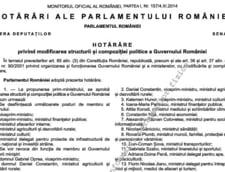 Modificarea Guvernului, publicata in Monitorul Oficial - Cine semneaza in locul lui Antonescu