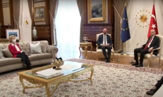 Moment stanjenitor la intalnirea presedintelui turc Erdogan cu liderii UE: Ursula von der Leyen, lasata fara scaun VIDEO
