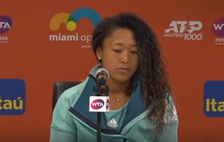 Naomi Osaka isi toarna cenusa in cap dupa eliminarea de la Miami