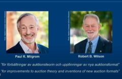 Nobelul pentru Economie, atribuit americanilor Paul Milgrom si Robert Wilson pentru inventarea de noi formate de licitatii