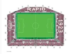 Numele echipei Rapid si anul infiintarii, formate din scaune pe noul stadion din Giulesti