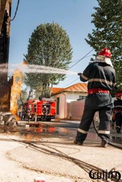 O conducta de gaze a luat foc in timpul unei lucrari, in zona parcului Closca