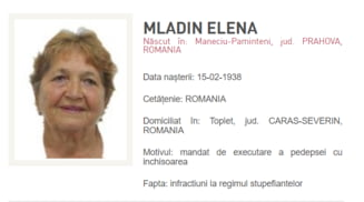 O femeie de 82 de ani, cea mai in varsta persoana data in urmarire in Romania. Aceasta este condamnata pentru trafic de droguri