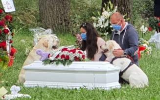 O fetita de origine romana care locuia cu parintii in Italia a murit inecata. Ce au facut cainii micutei tot timpul slujbei de inmormantare