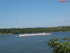 O insula a aparut in mijlocul Dunarii, din cauza debitului scazut al fluviului