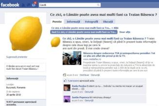 O lamaie are mai multi fani decat Traian Basescu, pe Facebook