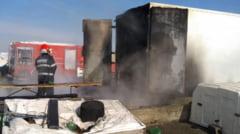 O rulota si un container de la o stana din Curtisoara, distruse de flacari
