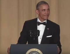 Obama, ultimul dineu pentru corespondentii de la Casa Alba: Discurs cu glume si critici acide (Video)