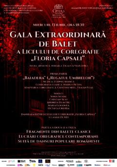 """Opera Nationala Bucuresti prezinta miercuri, 13 iunie, Gala Extraordinara de Balet a Liceului de Coregrafie """"Floria Capsali"""""""