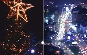 Oprescu a aprins luminile de Craciun in Capitala: Va indemn sa va iubiti orasul, ca si el va iubeste (Video)