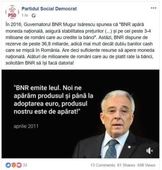 PSD, atac sustinut la adresa BNR si a guvernatorului Mugur Isarescu
