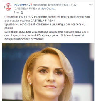 PSD Ilfov o sustine pe Firea: Spunem nu conducerii discretionare a unui singur om, spunem nu politicii pumnului in gura