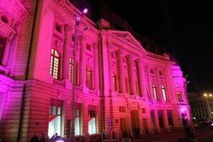 Palatul de Justitie, iuminat in roz, in cadrul luptei impotriva cancerului la san