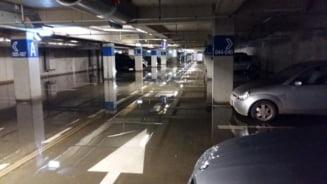 Parcarea de la stadion, inchisa din cauza inundatiei