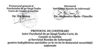 Parchetul General a desecretizat un protocol de colaborare incheiat in 2005 cu SRI. E semnat de Ilie Botos si Radu Timofte