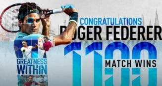 Performanta fabuloasa pentru Federer: 1.100 de victorii in tenis!