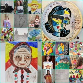 """Picturi din partea unor copii talentati, in dar Muzeului """"Conacul Bellu"""""""
