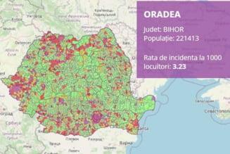 Platforma interactiva pentru incidenta COVID din fiecare localitate. Situatia actualizata din Bihor