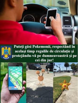 "Politia Romana, avertisment pentru impatimitii de Pokemon Go: Puteti gasi ""monstrii"" respectand regulile de circulatie"