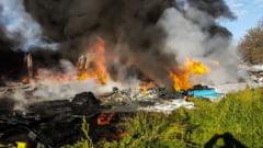 Pompierii giurgiuveni s-au luptat trei ore cu flacarile, pentru a stinge acest incendiu (FOTO)