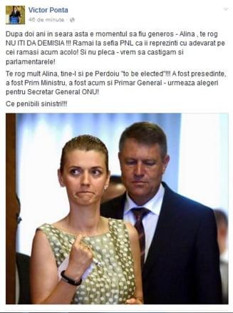 """Ponta: Alina, te rog nu iti da demisia! Vrem sa castigam si parlamentarele! Tine-l si pe Perdoiu """"to be elected""""!"""
